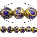 Beads dorë Lampwork, Round, brushwork, asnjë, vjollcë, 12mm, : 2.5mm, 10PC/Shumë,  Shumë