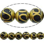Beads dorë Lampwork, Round, brushwork, asnjë, e zezë, 12mm, : 2.5mm, 10PC/Shumë,  Shumë