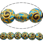 Beads dorë Lampwork, Round Flat, brushwork, asnjë, multi-colored, 12x12x8mm, : 2mm, 10PC/Shumë,  Shumë