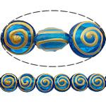 Beads dorë Lampwork, Round Flat, brushwork, asnjë, blu, 12x12x8mm, : 2mm, 10PC/Shumë,  Shumë