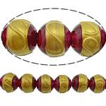 Beads dorë Lampwork, Round, brushwork, asnjë, i kuq, 12mm, : 2mm, 10PC/Shumë,  Shumë