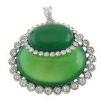 E gjelbër varëse agat, Jeshile agat, with Tunxh, Oval Flat, ngjyrë platin praruar, me diamant i rremë, 49.50x45x16mm, : 5x8mm, 10PC/Shumë,  Shumë