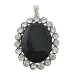 Pendants Zi agat, Black agat, Oval Flat, ngjyrë platin praruar, me diamant i rremë, 44x58x10mm, : 4.5x8mm, 10PC/Shumë,  Shumë
