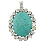 Varëse Bruz, Bruz sintetike, Oval Flat, ngjyrë platin praruar, me diamant i rremë, blu, 44x58x10mm, : 4.5x8mm, 10PC/Shumë,  Shumë