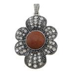 Pendants Goldstone, with Tunxh, Lule, ngjyrë platin praruar, me diamant i rremë & nxihem, 36.50x50x7.20mm, : 4.2x7.2mm, 20PC/Shumë,  Shumë