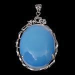 Deti Pendants opal, Deti Opal, with Tunxh, Oval Flat, ngjyrë platin praruar, asnjë, asnjë, 37x57x9mm, : 4.2x7.2mm, 20PC/Shumë,  Shumë