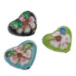 Beads filigran Cloisonne, Zemër, i përzier, 17x15x8mm, : 2mm, 100PC/Qese,  Qese
