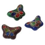 Beads filigran Cloisonne, Flutur, i përzier, 15x11x6mm, : 2mm, 100PC/Qese,  Qese