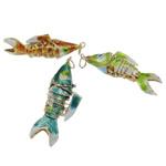 Pendants Cloisonne, Peshk, i përzier, 14x53x20mm, : 5mm, 10PC/Qese,  Qese