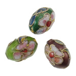 Beads Smooth Cloisonne, Oval, i përzier, 10x13mm, : 1.5mm, 100PC/Qese,  Qese