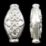 Beads aliazh zink Flat, Alloy zink, Oval, Ngjyra argjend praruar, asnjë, asnjë, , nikel çojë \x26amp; kadmium falas, 8x16x4.50mm, : 1.5 mm, 710PC/KG,  KG