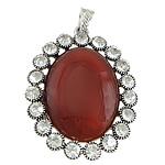 Pendants Red agat, with Tunxh, Oval Flat, ngjyrë platin praruar, me diamant i rremë, 45x57x10mm, : 4x7mm, 10PC/Shumë,  Shumë