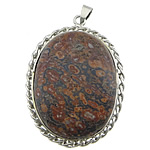 Pendants gur i çmuar bizhuteri, Leopard Skin Stone, with Tunxh, Oval Flat, ngjyrë platin praruar, asnjë, 36x59x9mm, : 4x6mm, 20PC/Shumë,  Shumë