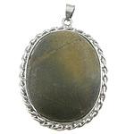 Pendants gur i çmuar bizhuteri, Verdhë veze Stone, with Tunxh, Oval Flat, ngjyrë platin praruar, asnjë, 36x59x9mm, : 4x6mm, 20PC/Shumë,  Shumë