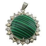 Pendants malakit, with Tunxh, Round Flat, ngjyrë platin praruar, me diamant i rremë, 32x37x12mm, : 4x6mm, 20PC/Shumë,  Shumë