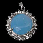 Deti Pendants opal, Deti Opal, Round Flat, ngjyrë platin praruar, me diamant i rremë, asnjë, 32x37x12mm, : 4x6mm, 20PC/Shumë,  Shumë