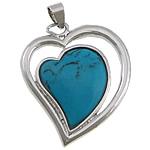 Varëse Bruz, Bruz sintetike, Zemër, ngjyrë platin praruar, asnjë, blu, 30x35x7mm, : 4x7mm,  Shumë