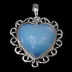 Deti Pendants opal, Deti Opal, with Tunxh, Zemër, ngjyrë platin praruar, asnjë, asnjë, 30x39x9mm, : 4x7mm, : 3mm, 30PC/Shumë,  Shumë