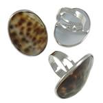 Shell Finger unaza, Alloy zink, with Deti Shell & Hekur, Oval, ngjyrë platin praruar, asnjë, asnjë, , nikel çojë \x26amp; kadmium falas, 26x36x27mm, : 19mm, :9, 50PC/Kuti,  Kuti