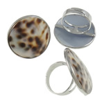 Shell Finger unaza, Alloy zink, with Deti Shell & Hekur, Round Flat, ngjyrë platin praruar, asnjë, asnjë, , nikel çojë \x26amp; kadmium falas, 31x31x26mm, : 19mm, :9, 50PC/Kuti,  Kuti