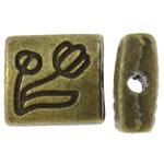 Zinklegierung flache Perlen, Rechteck, antike Bronzefarbe plattiert, frei von Nickel, Blei & Kadmium, 7x8x3.50mm, Bohrung:ca. 1.5mm, ca. 1250PCs/kg, verkauft von kg