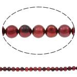 Round Beads kulturuar Pearl ujërave të ëmbla, Pearl kulturuar ujërave të ëmbla, i lyer, verë e kuqe, 6-7mm, : 0.8mm, : 15.7Inç,  15.7Inç,