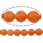 Beads Jade, Lemon Jade, Round, i lyer, kërcitje, 14mm, : 1.5mm, :16Inç, 5Fillesat/Shumë,  Shumë