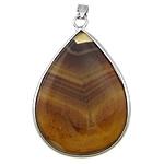 Agat pendants bizhuteri, Agat Kafe, Lot, ngjyrë platin praruar, asnjë, 32x42x9mm, : 4x5mm, 20PC/Shumë,  Shumë