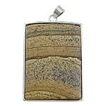 Pendants gur i çmuar bizhuteri, Picture Jasper, Drejtkëndësh, ngjyrë platin praruar, asnjë, 30x40x8mm, : 4x5mm, 20PC/Shumë,  Shumë