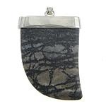 Pendants gur i çmuar bizhuteri, Black Stone Silk, Shape Tjera, ngjyrë platin praruar, asnjë, 38x50x13mm, : 3x4mm, 10PC/Shumë,  Shumë