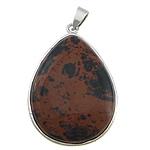 Pendants gur i çmuar bizhuteri, Obsidian sofër, Lot, ngjyrë platin praruar, asnjë, 32x40x9mm, : 4x6mm, 10PC/Shumë,  Shumë