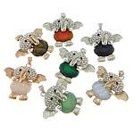 Pendants përziera gur i çmuar, with Tunxh, Elefant, i praruar, me diamant i rremë, 52x43x14mm, : 4x7mm, 10PC/Shumë,  Shumë