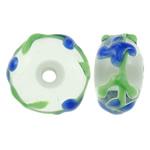 Beads Lampwork me gunga, Rondelle, punuar me dorë, asnjë, asnjë, 12.5x6.5mm, : 2.5mm, 100PC/Qese,  Qese