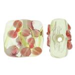 Beads Lampwork me gunga, Drejtkëndësh, punuar me dorë, asnjë, asnjë, 16x15x9mm, : 2mm, 100PC/Qese,  Qese