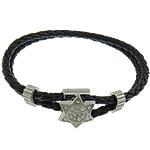 Cord Bracelets PU, Shape Tjera, asnjë, me diamant i rremë & 2-fije floku, e zezë, 16x18mm, 4x11mm, 4mm, :8.5Inç, 10Fillesat/Shumë,  Shumë