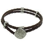 Cord Bracelets PU, Shape Tjera, asnjë, me diamant i rremë & 2-fije floku, bojë kafe, 18x18mm, 6x12mm, 4x12mm, 4mm, :8.5Inç, 10Fillesat/Shumë,  Shumë