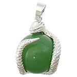 Pendants gur i çmuar bizhuteri, Malajzia Jade, with Tunxh, Gjarpër, ngjyrë platin praruar, asnjë, 21x26mm, : 4x6mm, 20PC/Shumë,  Shumë