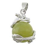 Lemon Jade, with Tunxh, Dragua, ngjyrë platin praruar, asnjë, 21x21mm, : 4x6mm, 30PC/Shumë,  Shumë