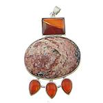 Pendants gur i çmuar bizhuteri, Leopard Skin Stone, with Red agat & Tunxh, Shape Tjera, ngjyrë platin praruar, faceted, 42x60x8mm, : 4x7mm, 10PC/Shumë,  Shumë