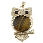 Syri Tiger Pendants, with Tunxh, Buf, ngjyrë ari praruar, me diamant i rremë, 40x63x7mm, : 4x7mm, 10PC/Shumë,  Shumë