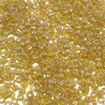 Rainbow Seed Glass Beads, Round, ylber, i tejdukshëm, ulliri verdhë, 2x1.9mm, : 1mm, 30000PC/Qese,  Qese