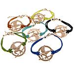 Velvet Bracelets Fashion Cord, Alloy zink, Round Flat, ngjyra rose ari praruar, ngjyra të përziera, , nikel çojë \x26amp; kadmium falas, 38x36x2mm, 2.5mm, :7Inç, 50Fillesat/Shumë,  Shumë