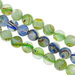 Petë Silver Beads Lampwork, Round, punuar me dorë, petë argjendi, ngjyra të përziera, 14mm, : 1-1.5mm, : 16Inç, 20Fillesat/Qese,  Qese