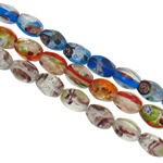 Goldsand & Silberfolie Lampwork Perlen, oval, handgemacht, mit Millefiori Scheibe & Goldsand und Silberfolie, gemischte Farben, 8.5x12mm, Bohrung:ca. 1-1.5mm, Länge:ca. 15.7 ZollInch, ca. 20SträngeStrang/Tasche, verkauft von Tasche
