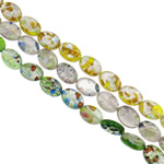 Goldsand & Silberfolie Lampwork Perlen, flachoval, handgemacht, Goldsand und Silberfolie, gemischte Farben, 10x14x5mm, Bohrung:ca. 1-1.5mm, Länge:ca. 15.7 ZollInch, ca. 20SträngeStrang/Tasche, verkauft von Tasche