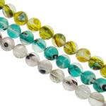 Petë Silver Beads Lampwork, Round, punuar me dorë, petë argjendi, ngjyra të përziera, 10mm, : 1-1.5mm, : 15.7Inç, 20Fillesat/Qese,  Qese