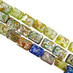 Lampwork Millefiori Fetë Beads, Drejtkëndësh, punuar me dorë, me fetë Millefiori & rërë ari dhe argjendi me letër varaku, ngjyra të përziera, 12x16x6.50mm, : 1-1.5mm, : 15.7Inç, 20Fillesat/Qese,  Qese