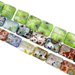 Lampwork Millefiori Fetë Beads, Shape përziera, punuar me dorë, me fetë Millefiori & rërë ari dhe argjendi me letër varaku, ngjyra të përziera, 13-16mm, : 1-1.5mm, : 15.3-15.7Inç, 20Fillesat/Qese,  Qese