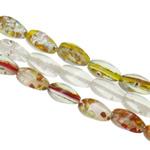 Goldsand & Silberfolie Lampwork Perlen, oval, handgemacht, Goldsand und Silberfolie, gemischte Farben, 7.50x16x7.50mm, Bohrung:ca. 1-1.5mm, Länge:ca. 15 ZollInch, ca. 20SträngeStrang/Tasche, verkauft von Tasche