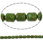 Bruz Beads, Bruz Mozaiku, Kolonë, sintetik, asnjë, e gjelbër, 10x13mm, : 1mm, : 15.7Inç, 10Fillesat/Qese,  Qese